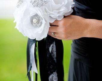 Custom Bridesmaid Silk Flower Brooch Bouquet, Bridesmaids Black and White Bouquet, Fabric Flower Rose Bouquet, Artificial Flowers - 6 inch