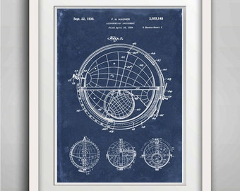 Astronomical Apparatus Patent Print - Globe - Planetary Motion - Educational Astronomy Device - Planetarium Design - Celestial  - World