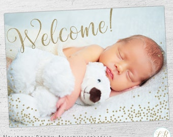 Birth Announcement Template, Newborn Announcement, Birth Announcement Card, Photo Card Template, Photoshop Template, Photographer - 03-012