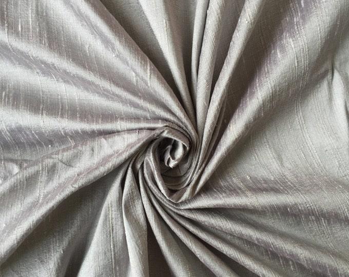 """Silver 100% dupioni silk fabric yardage By the Yard 45"""" wide"""