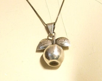Vintage Mexican silver apple pendant on sterling chain