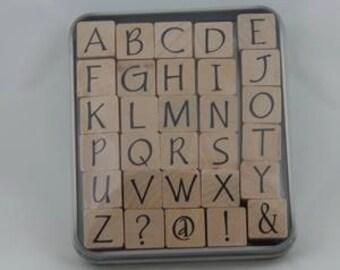 Upper Case Party font alphabet rubber stamp set