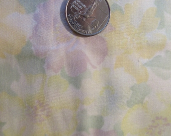 Cotton fabric floral print green, yellow and orchid