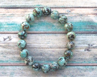 Turquoise bead bracelet, natural blue green stone bracelet, stone elastic bracelet, aqua bracelet, healing bracelet, African turquoise