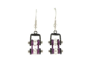 MINI Two Tone Black Candy Purple With Crystal Centers Bike Chain Earrings Stainless Steel Motorcycle Biker Jewelry