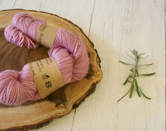 Wool, merino roving 100g skein, DK, Cochineal Dyed, Double knit, natural dyes, plant dyes, pink,