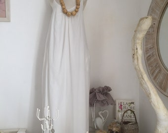 Long White cotton Summer Dress / Lined Vintage strappy dress