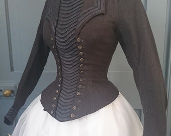 1880s Wool Bustle Bodice With Nautical Styling - Victorian Antique Fashion