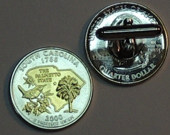 Cufflinks - So. Carolina Statehood Quarter - Gorgeous 2-Toned Gold on Silver Coin