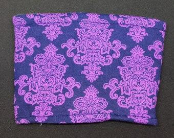Reusable Fabric Coffee Sleeve / Reusable Coffee Cozy / Cup Sleeve / Eco Friendly Coffee Sleeve / Navy and Purple Print