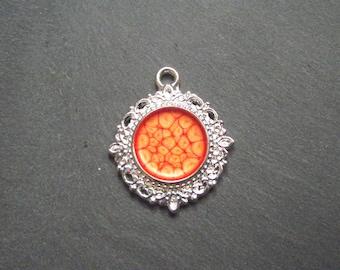 cabochon silver 15 mm Tangerine effect Prism paint