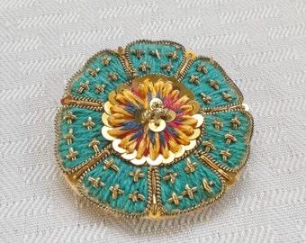 40s 50s Vintage Hand Made Medallion Brooch on Buckram