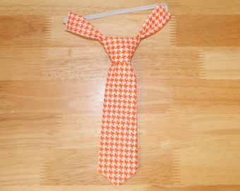 Orange and White Houndstooth Adjustable Neck Tie or Bow-Tie: 0-18 Months, 2T-4T, 5T/6T, 7/8