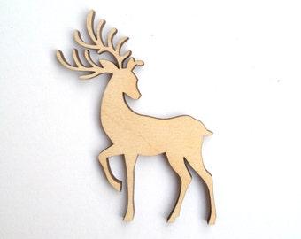 Laser cut DEER wood shape / Laser cut wood / Wood shapes / Wood charms / Deer decor / Wood animals / Laser engraved / Forest animals / Deers