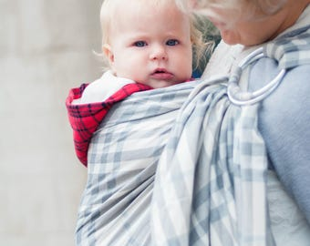 Burberry Baby, Linen Ring Sling, Baby Sling, Baby Sling Carrier, Printed Baby Sling, Baby shower gift, Eco friendly baby, Baby Ring Sling