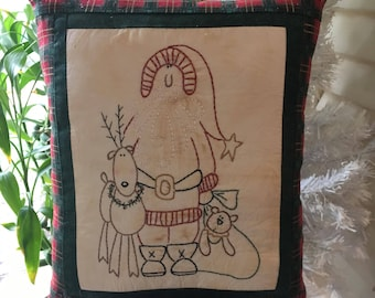 SALE: Santa and Friends Decorative Christmas Pillow - Holiday Room Accent - Country Decor - Festive Pillow - Embroidered Pillow