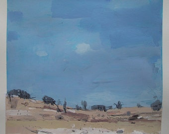 Beginning, Lost Dog Hill, Original Landscape Collage Painting on Paper, Stooshinoff