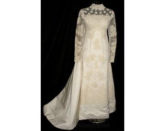 Size 8 Wedding Dress - Fine Alencon Lace & Satin Empire 60s Bridal Gown by Priscilla of Boston - Attached Train - Bust 36 - NWT 32786-1