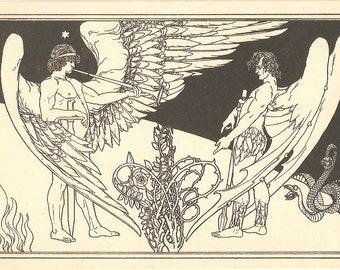 Judaica vintage postcard E. M. Lilien-Die Engel