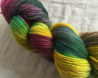 Pink, Green and Yellow Hand Dyed 4ply Sock Wool/Nylon Yarn 400 Mtrs  100gms