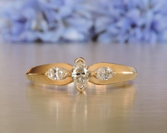 Three Stone Marquise Engagement Ring / Anniversary / Wedding / Wife / Girlfriend / Gold / Mothers Day Gift / Birthday - SKU #  VRLEYD-008