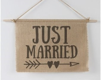 Rustic Burlap Country Wedding Just Married Sign Photo Prop