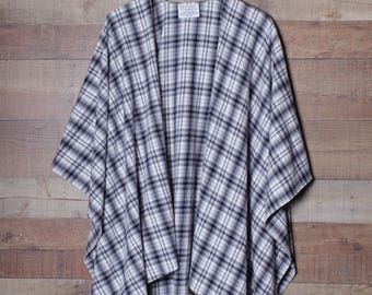 Plaid, Plaid Flannel Wrap, Poncho Cape, Plaid Ruana Style Shawl, Plaid Shawl, Flannel Shawl, White Gray Navy multi color Plaid, Open Front