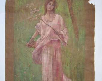 antique original oil painting, girl on the forest