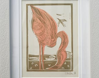 lino print, flamingo, flamingo art, flamingo print, pink flamingo, crown, gift, blue flamingo, lino print, affordable art, art, bird art