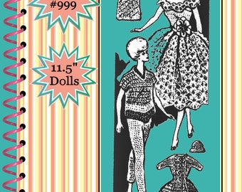 Vintage Barbie Crochet Pattern Design #999  Doll Clothes Wardrobe