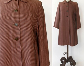 vintage 1950s overcoat <> 1950s houndstooth jacket <> 50s lightweight coat <> 1950s raincoat <> houndstooth coat <> 1950s duster