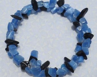 Blue Chip Bead Bracelet