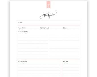 Recipe Book Printable, Blank Recipe Book, Recipe Sheet, Recipe Binder, Recipe Organizer, DIY Recipe book, Kitchen Cookbook, INSTANT DOWNLOAD