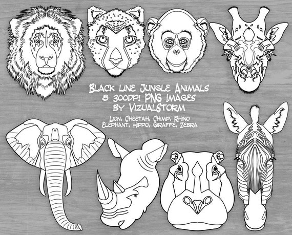 Black White Safari Animal Clipart Jungle Graphics Zoo Faces Coloring Lion Cheetah Monkey Elephant Giraffe Rhino Hippo Zebra From VizualStorm