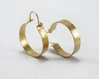 Hammered gold hoop earrings Textured hoops Medium hoops Gypsy hoops