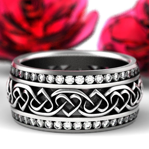 RESERVED FOR Laura 3 Payments for Sterling Celtic Wedding Ring With Heart Knots And Channel Set Moissanites