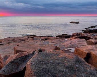 Acadia Sunrise Glow - Loose Print. Maine National Park Coast Bar Harbor Atlantic Clouds