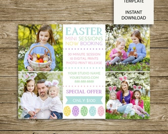 Polka Dot Eggs Easter Mini Session Marketing Board - 7x5 Photoshop Template - INSTANT DOWNLOAD