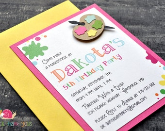 Paint Splatter Birthday Party Invitations · A2 LAYERED · Fuchsia Pink · Painting Party | Artist | Painter's Palette