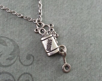 Bubbles Necklace, SMALL Silver Jewelry, Bubble Wand Pendant, Bubble Charm, Childhood Jewelry, Bridesmaid Gift, Wedding Gift, Summer Necklace