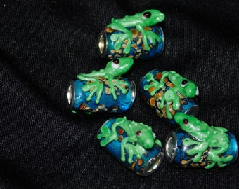 Zany Blue Glass Barrel Beads with Green Frogs