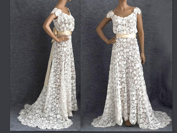 Mermaid wedding dress Edwardian style Irish Wedding dress