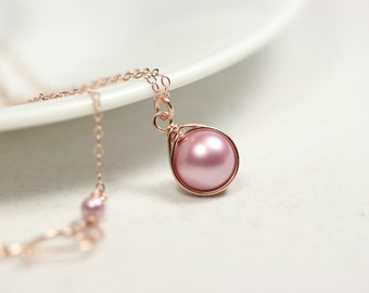 Rose Gold Necklace Pink Pearl Necklace Wire Wrapped Jewelry Rose Gold Necklace Swarovski Pearl Necklace Rose Gold Jewelry Bridal Powder