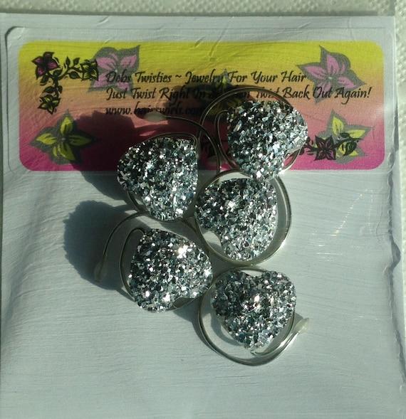Faux Druzy Hair Swirls Silver Sparkle Hearts  Proms, Dancers, Skaters, Bridesmaid Updos