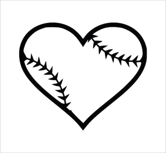 Baseball Heart Decal Softball Heart on Baseball With Bat