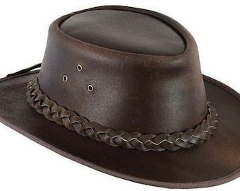 Leather Cowboy Western Style Bush Hat
