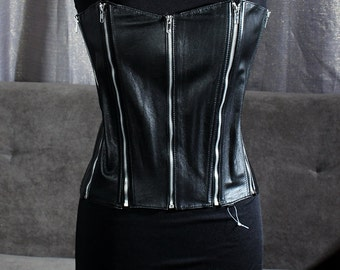 Allure Leather back-lacing zippered corset top (size large)