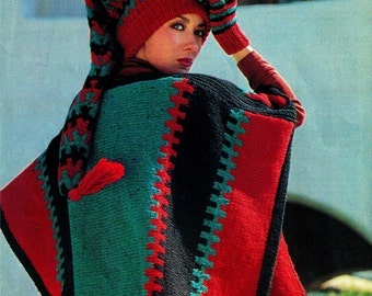 "Vintage Knit 70's ""Poncho, Jelly-Bag Hat & Mitts"" - PDF Pattern - UK"