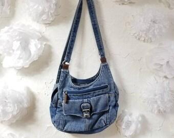 The Astrid: 90s Vintage Denim Shoulder Bag Purse with Pockets
