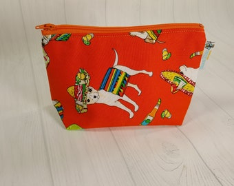 Chihuahua Cinco de Mayo Orange Chiwawa Zipper Notions Pouch, Mini Zippered Wedge Bag, Craft Pouch NP0056